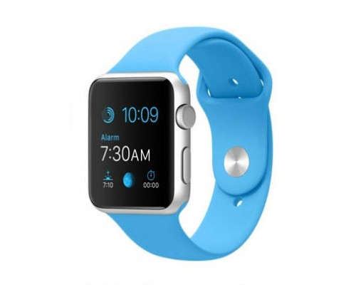 Ремешок для Apple Watch 38 - 40 мм силиконовый голубой
