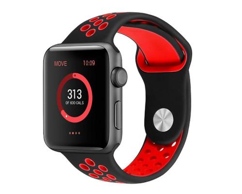 Ремешок для Apple Watch 42 - 44 мм с перфорацией черный с красным