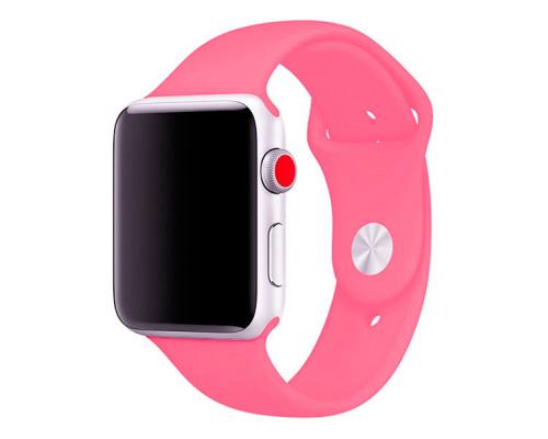 Ремешок для Apple Watch 38 - 40 мм силиконовый ярко розовый
