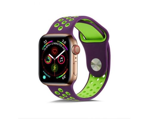 Ремешок для Apple Watch 42 - 44 мм с перфорацией фиолетовый с салатовым