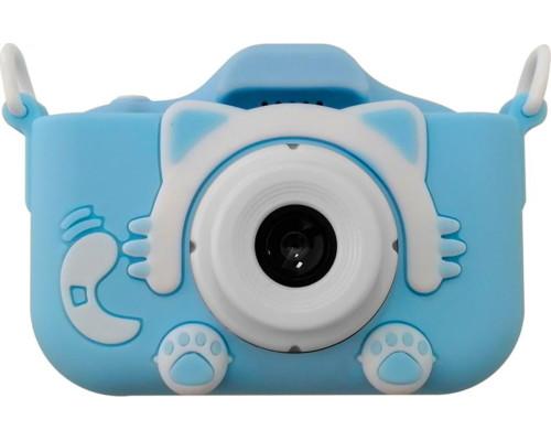 Детский фотоаппарат Childrens Fun Camera Kitty  с двумя камерами,со встроенной памятью и играми голубой (прорезиненное покрытие) плюс чехол