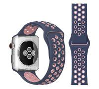 Ремешок для Apple Watch 42 - 44 мм с перфорацией серый с розывым