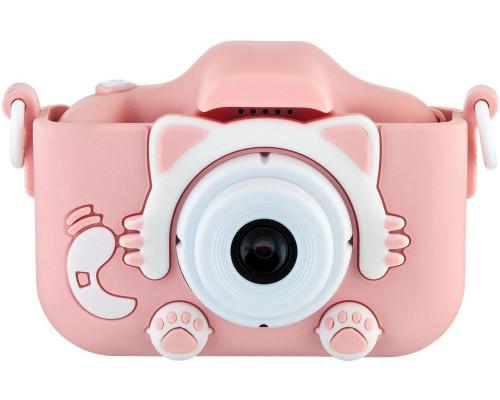 Детский фотоаппарат Childrens Fun Camera Kitty с двумя камерами,  со встроенной памятью и играми розовый (прорезиненное покрытие) плюс чехол