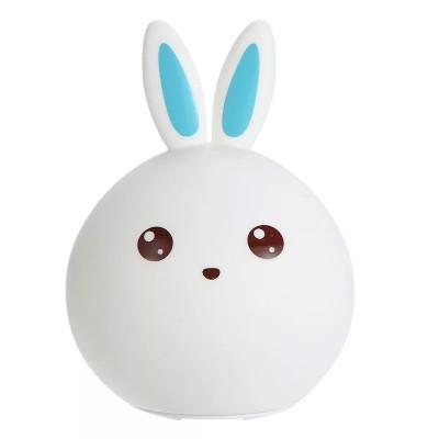 Ночник - светильник в виде зайчика (синие ушки)  5 режимов свечения Rabbit silicone lamp