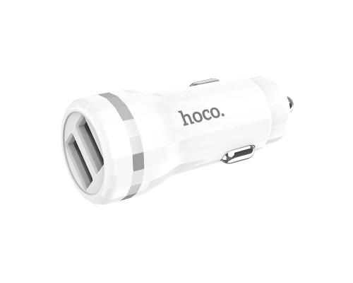 Автомобильная зарядка Hoco Z27, 2.4А, белый