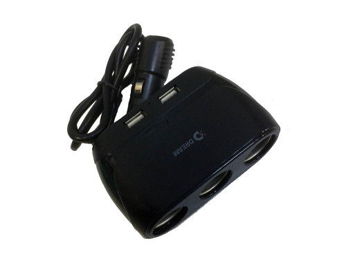 Разветвитель прикуривателя Dream A805, 2.4A, 3 гнезда, 2 USB, черный