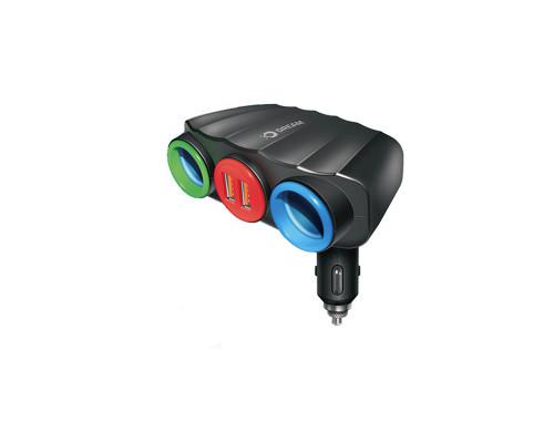 Разветвитель прикуривателя Dream A808 2.4A, 2 гнезда, 2 USB, черный