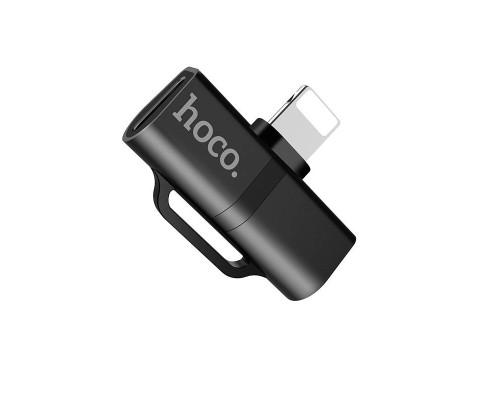 Переходник для наушников Hoco LS20 Dual Lightning Audio Converter, чёрный