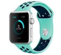 Ремешок для Apple Watch 42 - 44 мм с перфорацией бирюзовый с синим