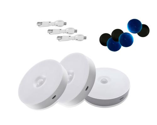 Набор беспроводных светильников с датчиком движения на аккумуляторе, белые, 3 шт.