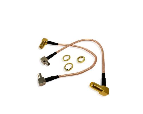 Комплект пигтейл-переходников TS9 - SMA female угловой, кабельная сборка, 2 шт, 15 см