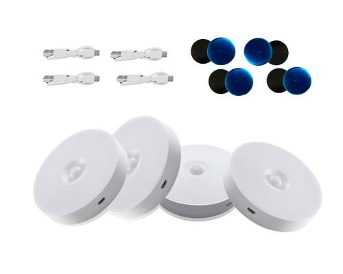 Набор беспроводных светильников с датчиком движения на аккумуляторе, белые, 4 шт.