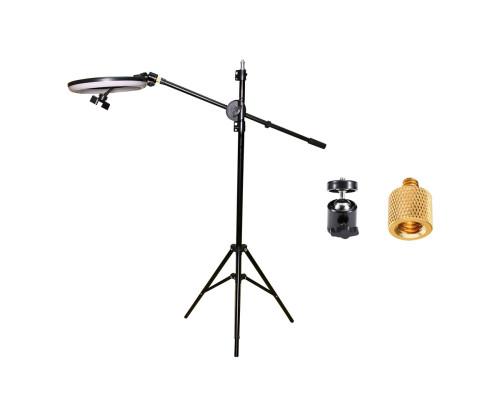 Напольная стойка штатив для горизонтальной съемки JBH-G12 с кольцевой лампой 26 см