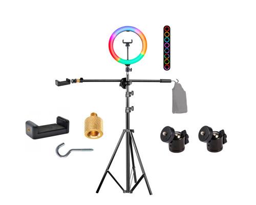 Напольная стойка штатив JBH-G113 с кольцевой RGB лампой 32 см, крючком для противовеса и держателем телефона для горизонтальной съемки