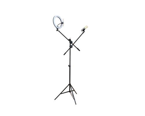 Напольный штатив JBH HD0822 с двумя журавлями и кольцевой лампой 26 см