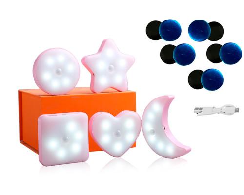 Светодиодные светильники с датчиком движения на аккумуляторе, 5 шт.