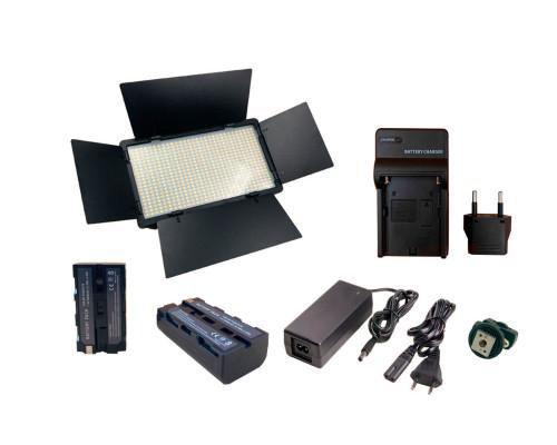 Светодиодная панель с 2 аккумуляторами и зарядным устройством, с креплением на камеру или штатив