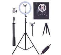 Кольцевая лампа SL-26E для профессиональной съемки, селфи лампа с держателем для смартфона, со штативом и треногой, диаметр лампы - 26 см