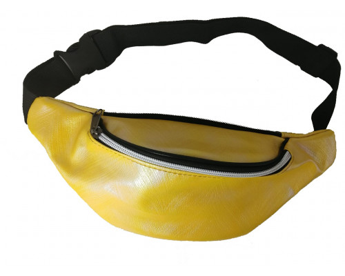 Сумка на пояс желтая, перламутровая