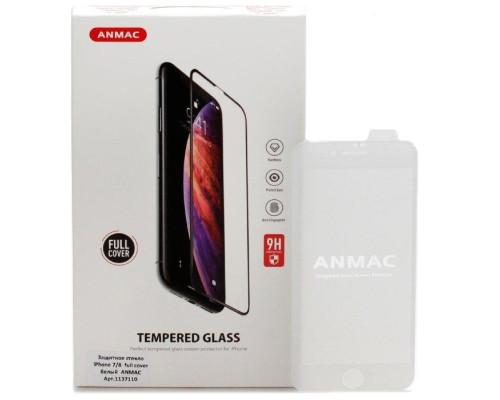 Защитное стекло ANMAC 5D для iPhone 7 Full Cover, дисплей и задняя часть, белое