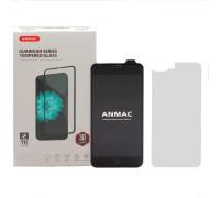 Защитное 3D стекло ANMAC для iPhone 8 Plus черное, дисплей и задняя часть