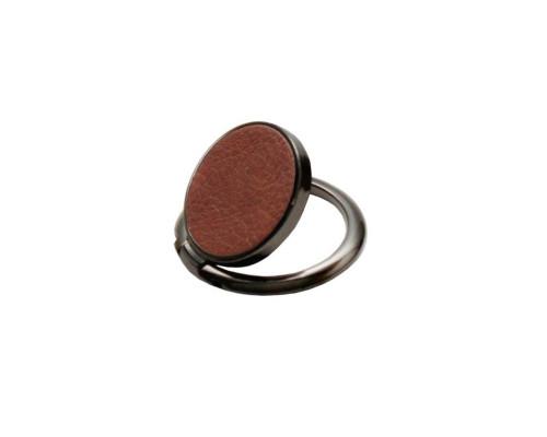 Кольцо-держатель для телефона, кож.зам, коричневый