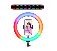 Кольцевая лампа  RGB LED MJ26 26 см с держателем для смартфона, 15 цветовых схем и 10 ступеней яркости