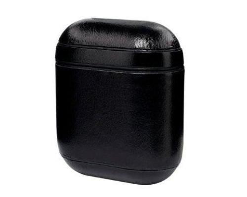 Кожаный чехол для Apple Airpods черный