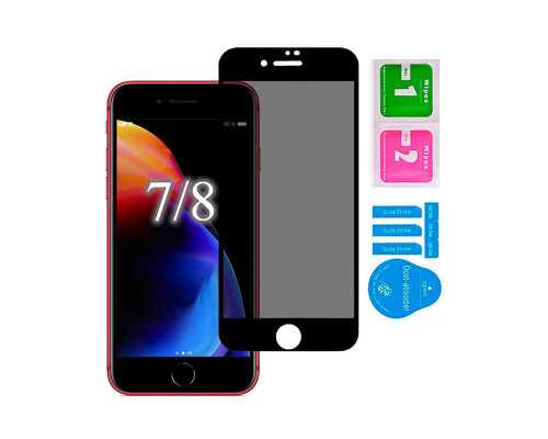 Защитное стекло для iPhone 7/ 8 антишпион 5D полная проклейка черное с салфеткой и стикером