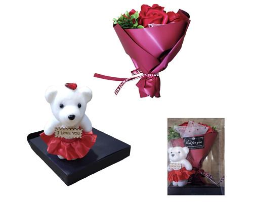 Букет цветов из мыла, красные розы с медвежонком 22 см