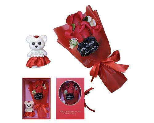Букет цветов из мыла, красные розы с мышонком 24 см
