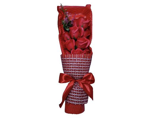 Букет цветов из мыла, красные розы 37 см