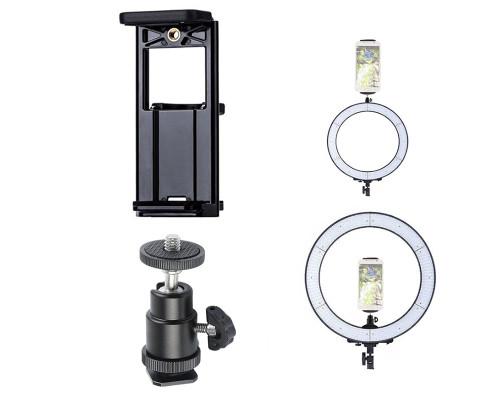 Держатель шарнирный для телефона для кольцевой лампы с креплением в паз (с широким зажимом)
