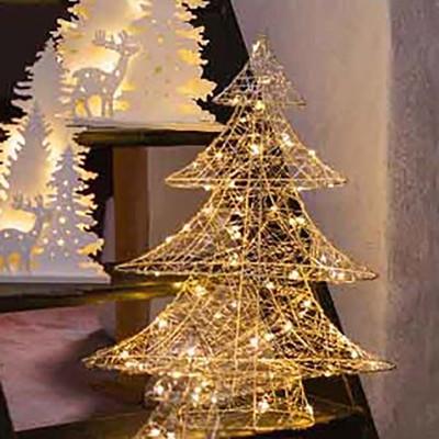 Ель настольная со светодиодными лампочками золотистая 50 см