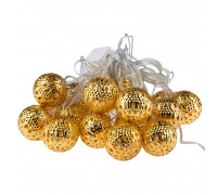 Электрогирлянда 4.5 м, 20 ламп, металл, золотистые шары диаметром 4 см