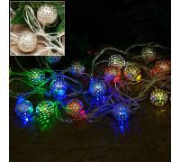 Электрогирлянда 4.5 м, 20 ламп, металл, серебристые шары диаметром 4 см