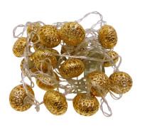 Электрогирлянда 4.5 м, 20 ламп, металл, золотистые приплюснутые шары диаметром 3 см
