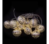 Электрогирлянда 4.5 м, 20 ламп, металл, серебристые приплюснутые шары диаметром 3 см