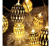 Электрогирлянда 4.5 м, 20 ламп, металл, золотистые овалы 3 см