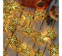 Электрогирлянда 4.5 м, 20 ламп, металл, золотистые звезды 4.7 см