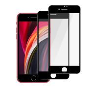 Защитное стекло для iPhone 8 Plus полная проклейка черное с салфеткой и стикером, в комплекте 2 шт