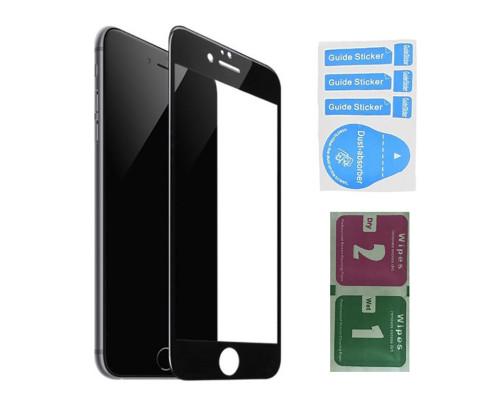 Защитное стекло для iPhone 8 Plus (вид - 3D, черная рамка, в комплекте салфетка и стикер)