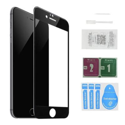 Защитное стекло для iPhone 8 Plus (вид - 5D полная проклейка, черная рамка, в комплекте салфетка, стикер и гель для подклейки)