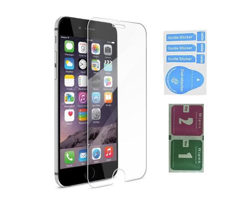 Защитное стекло для iPhone 7 (вид - 2.5D, в комплекте салфетка и стикер)