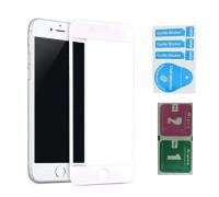 Защитное стекло для iPhone 7 (вид - 3D, белая рамка, в комплекте салфетка и стикер)
