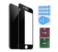 Защитное стекло для iPhone 8 (вид - 3D, черная рамка, в комплекте салфетка и стикер)