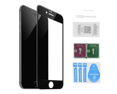 Защитное стекло для iPhone 8 (вид - 5D полная проклейка, черная рамка, в комплекте салфетка, стикер и гель для подклейки)