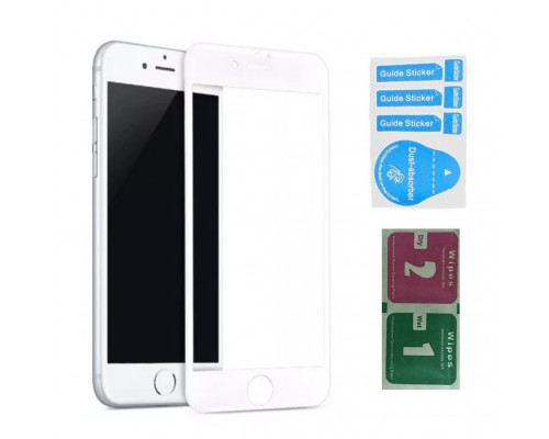 Защитное стекло для iPhone 7 Plus (вид - 3D, белая рамка, в комплекте салфетка и стикер)