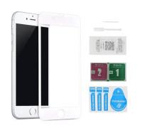 Защитное стекло для iPhone 8 Plus (вид - 5D полная проклейка, белая рамка, в комплекте салфетка, стикер и гель для подклейки)