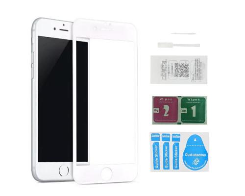 Защитное стекло для iPhone 8 (вид - 5D полная проклейка, белая рамка, в комплекте салфетка, стикер и гель для подклейки)